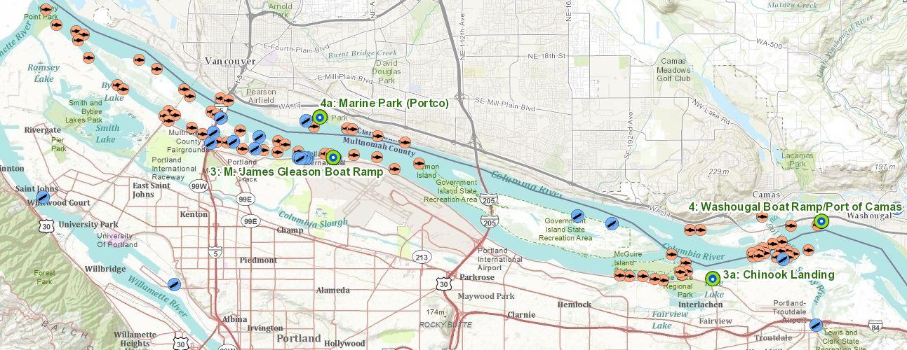 Fishing haydenisland bridge cam for Columbia river fishing map
